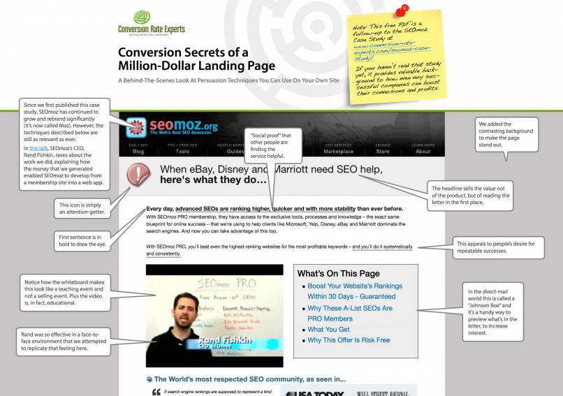 A glimpse of the free SEOMoz PDF report