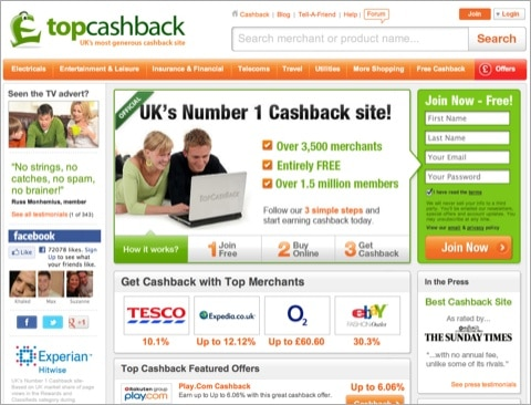 Top Cashback's homepage