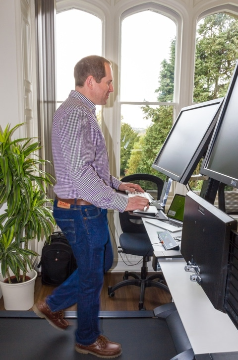 Our co-founder Karl on his treadmill desk.