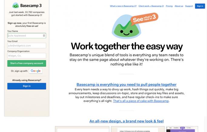Basecamp's homepage