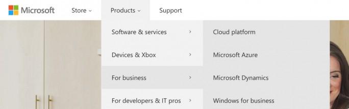 Microsoft.com navigation bar