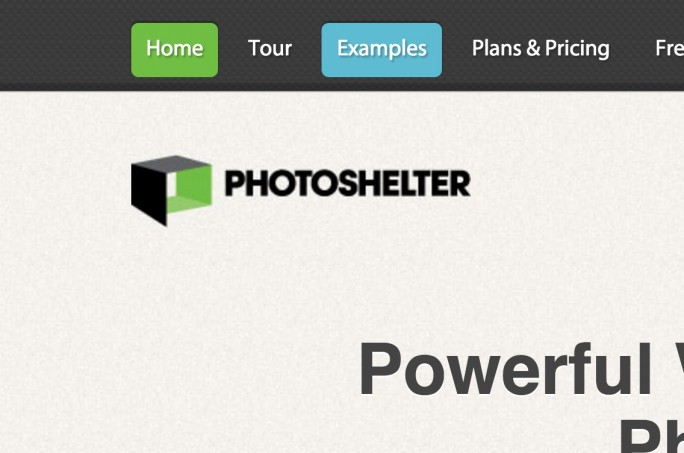 PhotoShelter's navigation bar