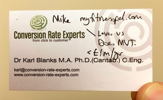 Business card with notes from Mike Lee, MyFitnessPal