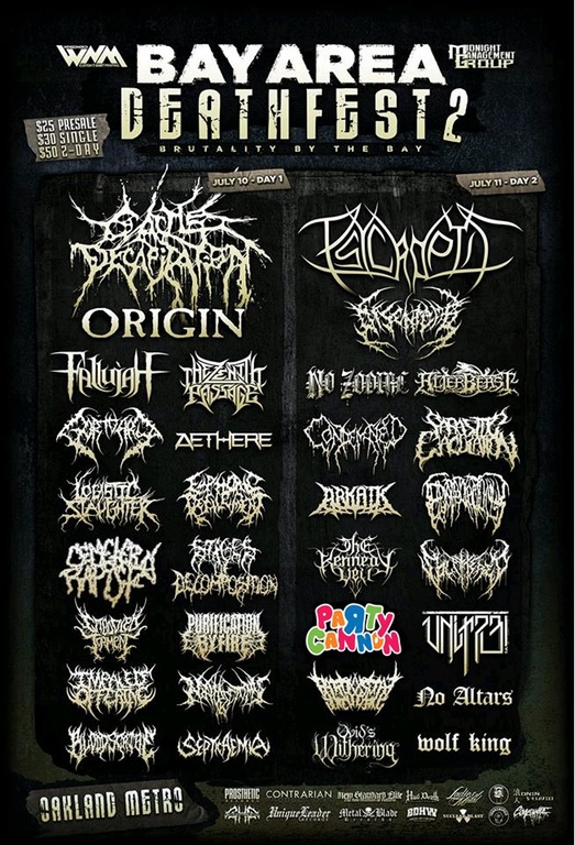 Party Cannon on the Bay Area Deathfest poster.