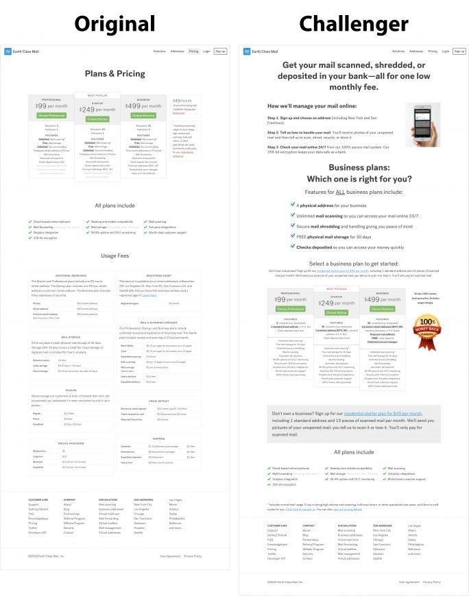 Pricing page - original v challenger