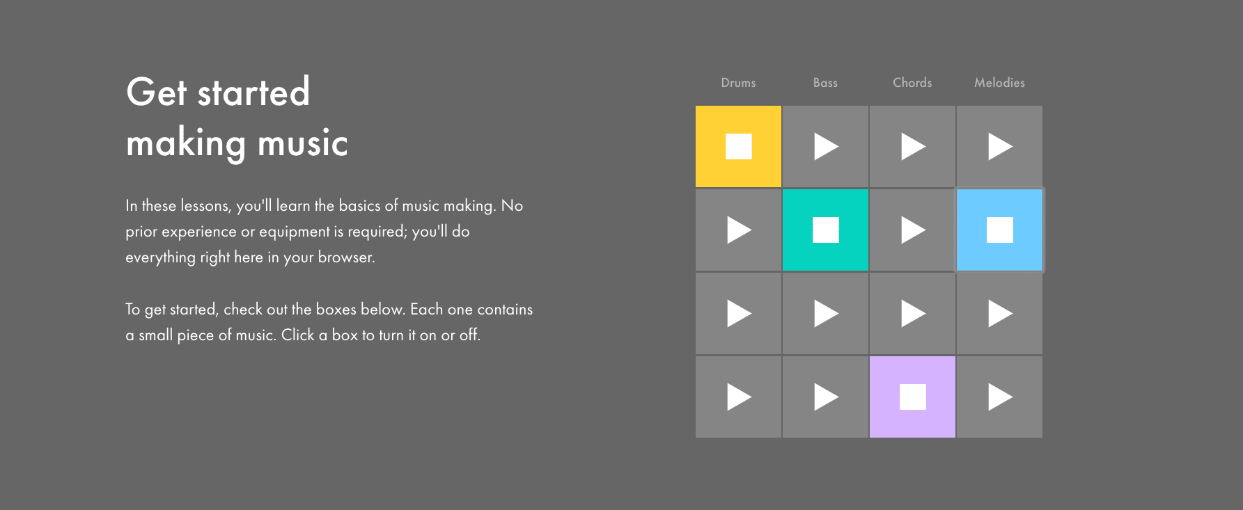 Screenshot of Ableton's guide to music